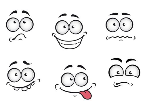 Cartoon emotions faces set for comics design